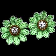 SALE Large FAZIO Green Glass Briolette Teardrop Flower Inspired Earrings