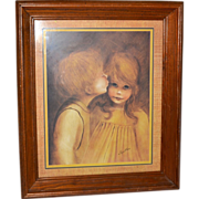 SALE 1960s 'Little Kiss' Margaret Kane Framed Print