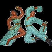 SALE Universal Statuary Mid-Century Modern Turquoise Blue Speckled Ceramic Dancing Spanish Man