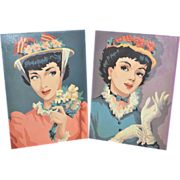 SALE 1950s Set of 2 Elegant Lady Paint By Number Art Paintings