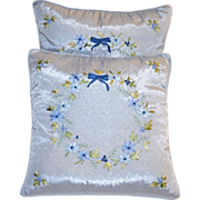 SALE Pair of Hand-Stitched & Embroidered Blue Satin Flower & Bow Accent Pillows