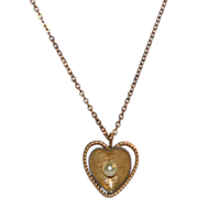 SALE Krementz Cultured Pearl Gold Plate Heart Pendant Necklace