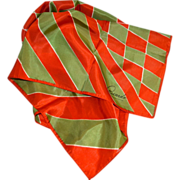 SALE Ricardo Orange & Green Diamond Shapes & Stripes Signature Scarf