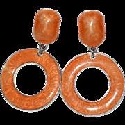 SALE Large Orange Enamel Hoop Dangle Clip Earrings