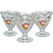 SALE Set of 3 Elsie the Cow Ruffled Glass Ice Cream Dishes