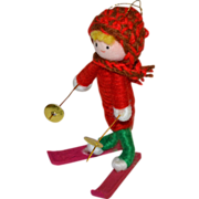 SALE 1960s Handcrafted Crochet Elf/Kid on Skis Christmas Ornament