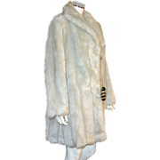 SALE Glenoit Silver Gray Faux Mink Fur Mid-Length Coat