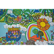 SALE Awesome Pop Art Noah's Ark Blue Fringe Twin Bedspread/Tablecloth