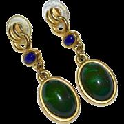 SALE Gorgeous Faux Malachite & Lapis Pierced Dangle Earrings