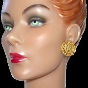 SALE Big & Bold Faux Roman Coin Goldtone Earrings