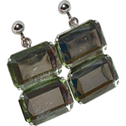 SALE Faceted Lucite Double Chunk Dangle Clip Earrings
