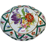 SALE H&F Elios Hand-painted Flowers Porcelain Trinket Dish w/ Lid
