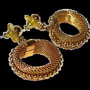SALE Etruscan Style Ball & Mesh Hoop Pierced Dangle Earrings