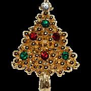 SALE 1960s Rhinestone Christmas Tree Tie Tack Pin