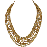 SALE 1950s Etruscan Style Multi-Strand Designer Goldtone Chain Necklace