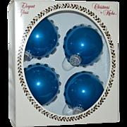 SALE Krebs Elegant Glass 'Bubble Gum Velvet' Large Blue Christmas Ornaments in Original Box