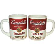 SALE 1960s Set of 2 Campbell's Tomato Soup Mugs