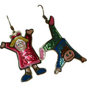 SALE Two Hands Whimsical Boy & Girl Dangle Earrings