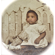 SALE 1920s Large Original Photo of African American Baby Girl with Toy Dog