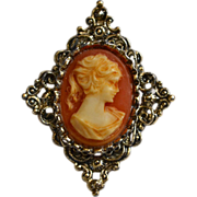 SALE Gerry's Signed Ornate Cameo Antiqued Silvertone Pendant or Brooch/Pin