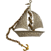 SALE 1970s Very Large Textured Sailboat Ship with Rope Chain Anchor Brooch/Pin/Pendant