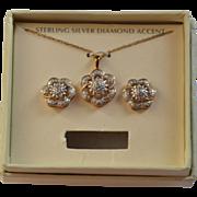 SALE Diamond & Sterling Silver Flower Earrings & Pendant Necklace w/ Box
