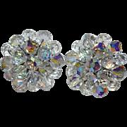 SALE 1950s Aurora Borealis Crystal Cluster Earrings