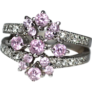 SALE Sterling & Pink Cubic Zirconia Cluster Cocktail Ring ~ Size 7