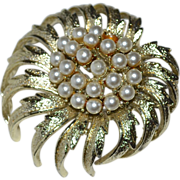 "SALE Coro Signed 2"" Faux Pearl Cluster Brooch/Pin"