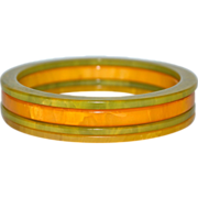 SALE Set of 4 Butterscotch Yellow & Swirled Green Bakelite Bangle Spacer Bracelets