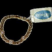 SALE Richelieu Classic Faux Pearl Goldtone Link Bracelet w/ Original Tag
