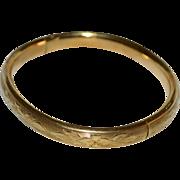 SALE Antique Victorian JMF Co 12K Gold-Filled Etched Flower Domed Bangle Bracelet