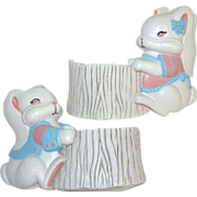 SALE Set of 2 Burwood Products Bunny Rabbit Nursery or Easter Planters