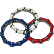 SALE 1960s Set of 3 Red, White & Blue Enamel Bamboo Design Rings for the Patriotic America