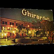 SALE 1960s Ghirardelli Square San Francisco, CA Color Postcard Night View w/ Neon Sign