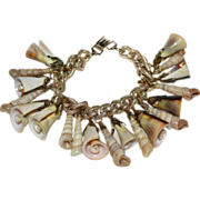 SALE Chunky Germany Made Natural Spiral Shell Charm Bracelet