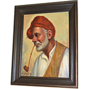 SALE Giorgia Fraia 20th C Italian Artist 'Old Man Smoking Pipe' Framed Oil on Canvas Painting