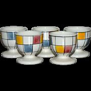 SALE Rare Set of 5 Mondrian Inspired Mid-Century Modern Ceramic Egg Cups
