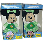 SALE Knickerbocker Minnie Mouse in Green Dress 'Mickey Mouse Club' Soft Doll w/ Original Box