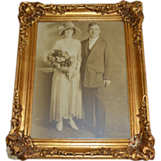 SALE Amazing 12x16 Original Art Deco Wedding Photo ~ Portrait of Bride & Groom in ...