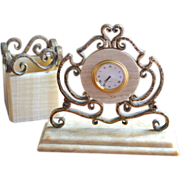 SALE Ornate Hammered Bronze & Onyx Stone Desk Clock & Pen/Pencil Holder Set