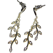 SALE Sterling Silver & Cubic ZIrconia Leaf Design Chain Dangle Earrings