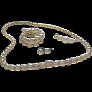 SALE 1940s Rare Soap Bubble Bead Necklace, Double Row Bracelet, Sterling Earrings & ...