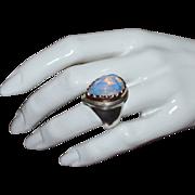 SALE Gorgeous Sterling Silver & 14K Gold Huge White Quartz Ring ~ Size 8