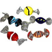 SOLD Set of 5 MURANO Art Glass Blue, Yellow, Red & Orange Candy Inspired Pieces