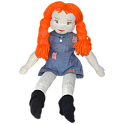SALE Handcrafted Pippi Longstocking Rag Doll w/ Flaming Red Yarn Hair, Undies & Socks!