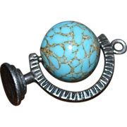 SALE Danecraft Sterling Rotating Blue Glass Globe Pendant/Charm