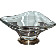 SALE Baldwin Sterling Atomic Triangle Crystal Glass Silver Base Compote or Candy Dish