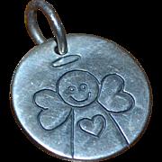SALE Brighton Sterling Silver Primitive Angel w/ Heart Round Charm/Pendant