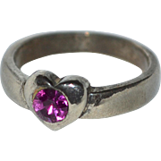 SALE Sterling Silver Faceted Pink Stone Heart Ring ~ Size 7 3/4